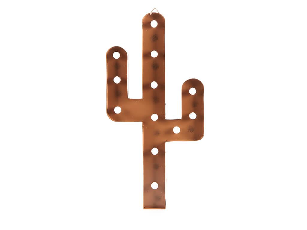 Cartel led cactus oxido mediano