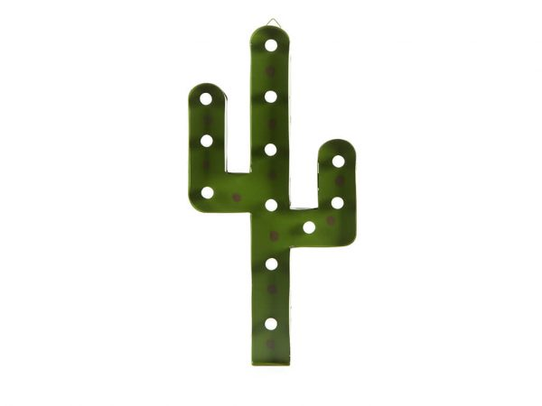 Cartel led cactus verde mediano