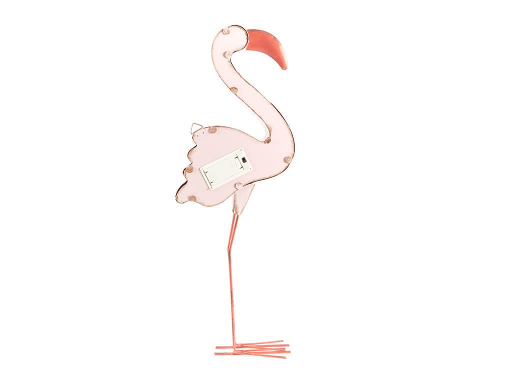 Cartel led flamingo rosa grande reverso