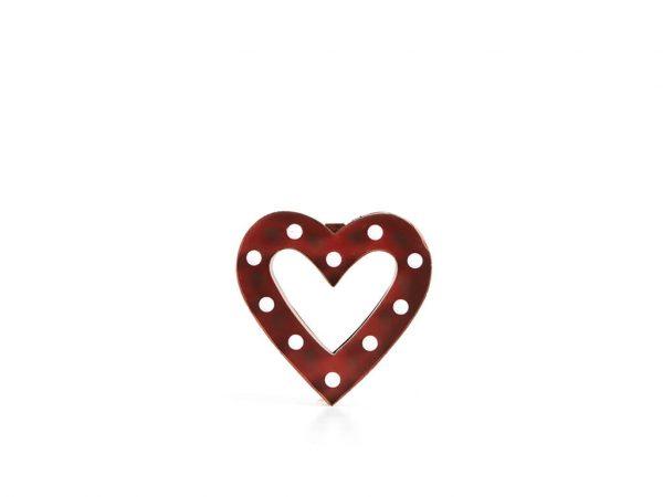 Cartel led marco corazón rojo chico
