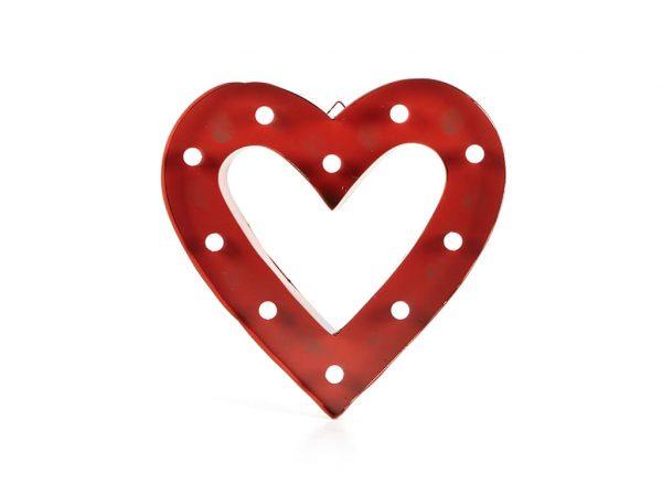 Cartel led marco corazón rojo grande
