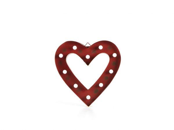 Cartel led marco corazón rojo mediano