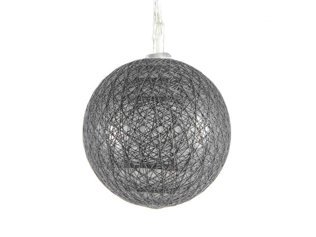 Guirnalda esferas grises x10 unidades detalle