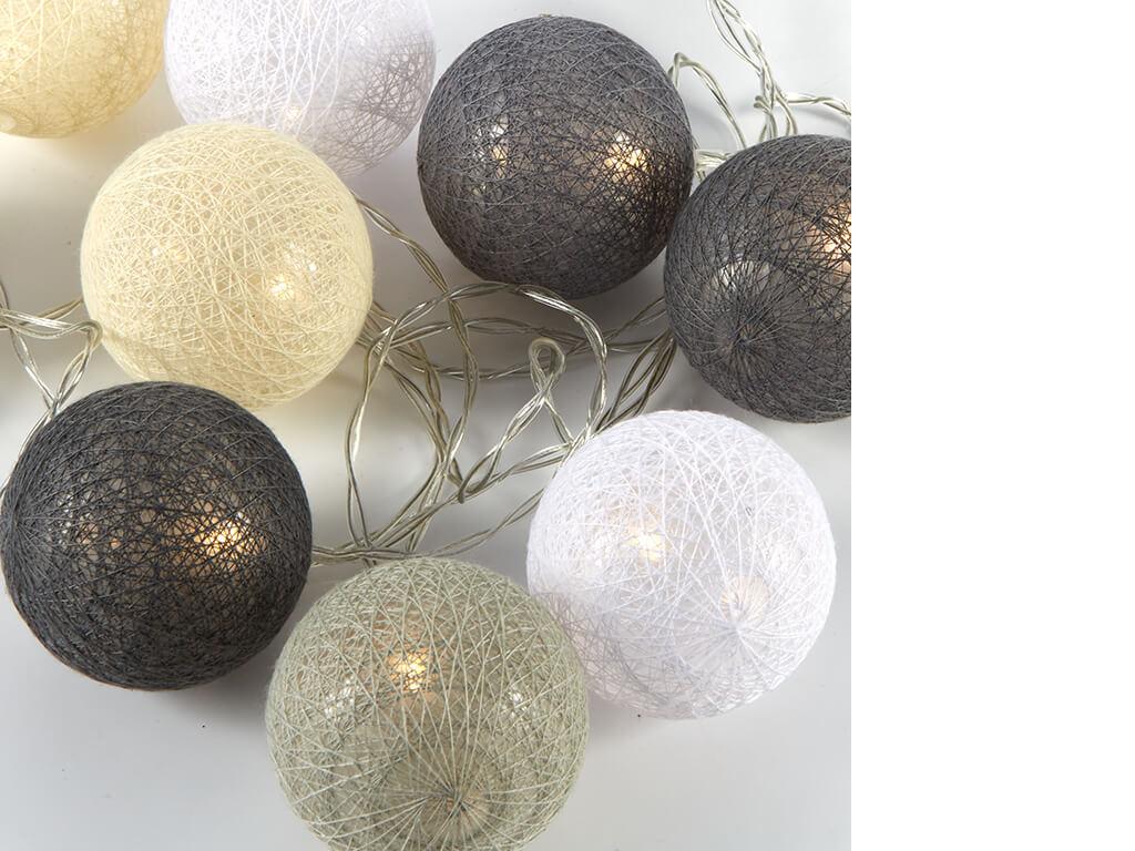 Guirnalda esferas grises x10 unidades sueltas