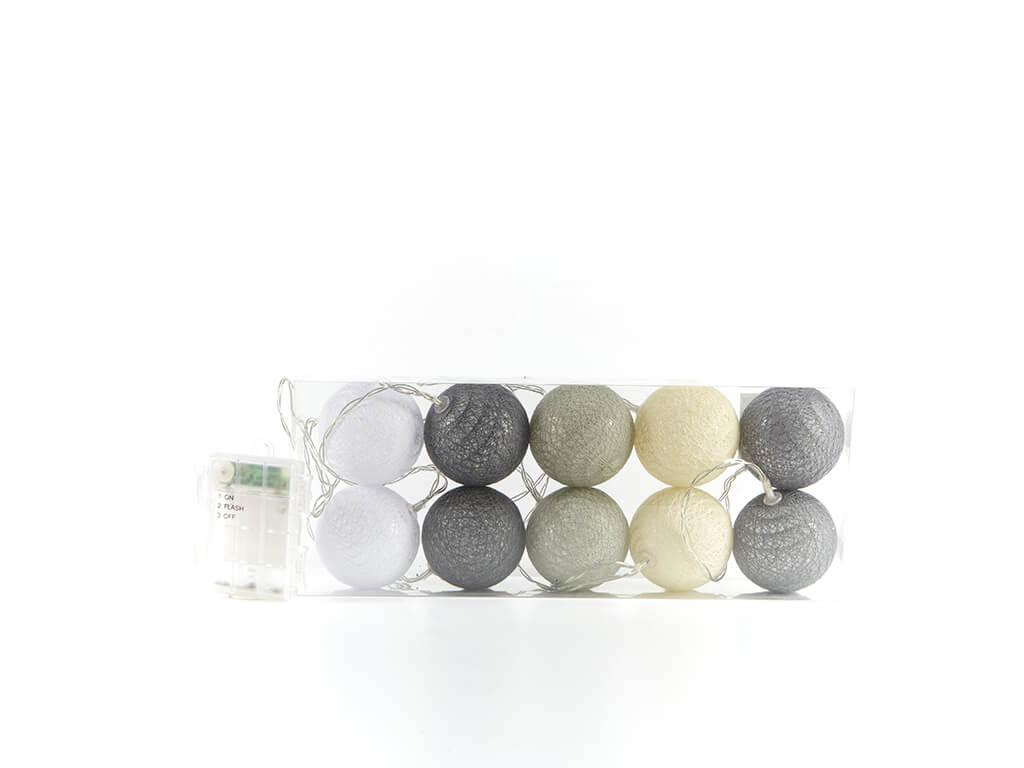 Guirnalda esferas grises x10 unidades
