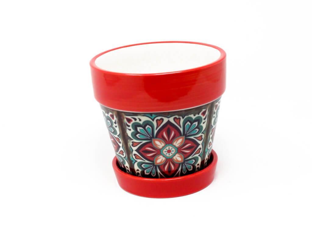Maceta con plato mediana rojo detalle