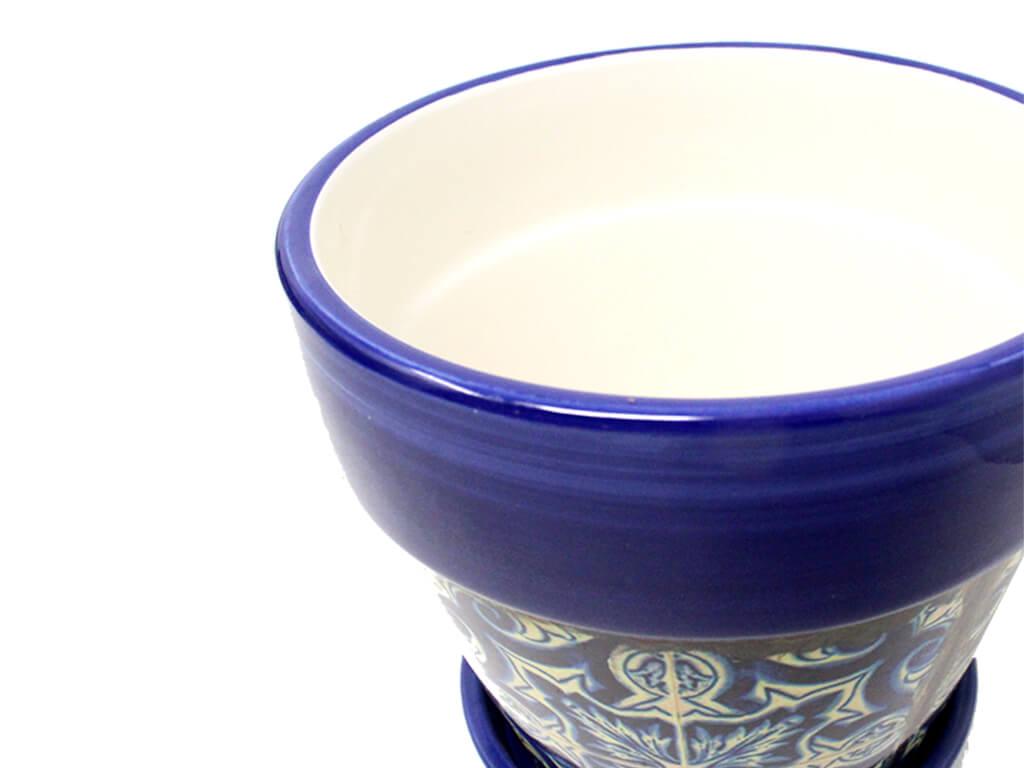 Maceta con plato set x3 azul MZ8 detalle