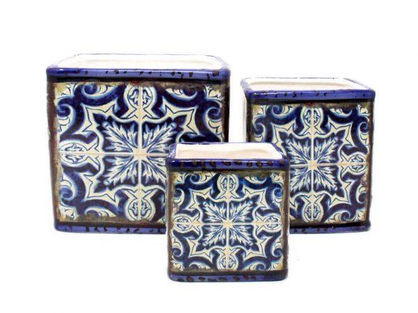 Maceta mandala cuadrada set x3 azul
