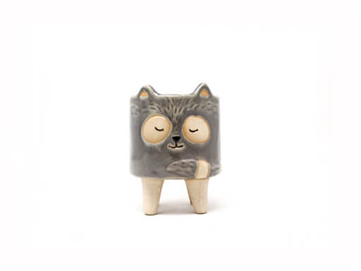 Maceta animal 107 7x10 cm mapache chico gris