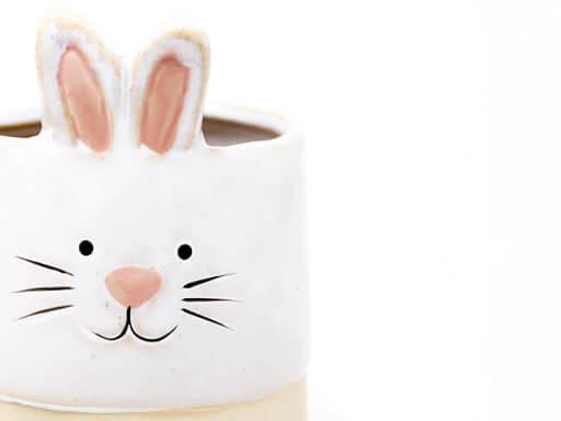 Maceta animal 200 11x16 cm conejo grande blanco detalle