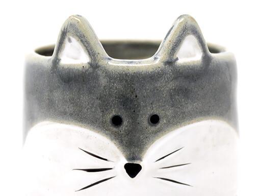 Maceta animal 204 11x14 cm zorro grande gris detalle