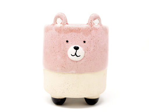 Maceta animal 205 11x13 cm oso grande rosa