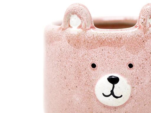 Maceta animal 205 11x13 cm oso grande rosa detalle