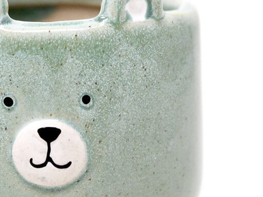 Maceta animal 206 11x13 cm oso grande verde detalle