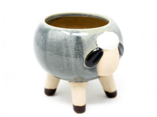 Maceta animal 210 13x12 cm oveja grande gris lateral