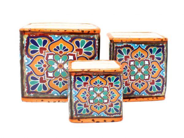 Maceta mandala cuadrada set x3 naranja