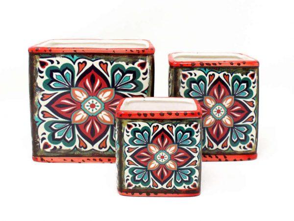 Maceta mandala cuadrada set x3 roja