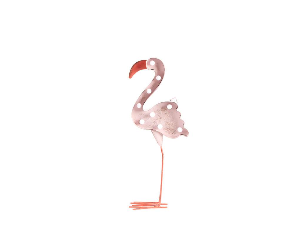 Cartel led flamingo rosa mediano