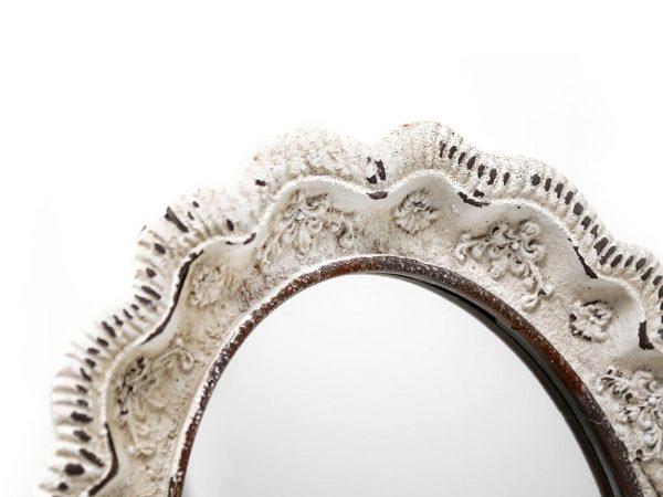 Espejo vintage deco 6 blanco detalle