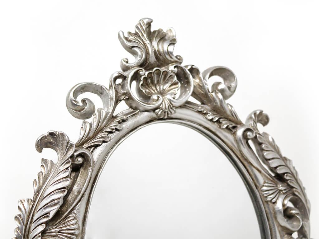 Espejo vintage deco 8 plateado detalle