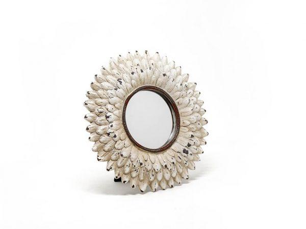 Espejo vintage deco plumas blanco