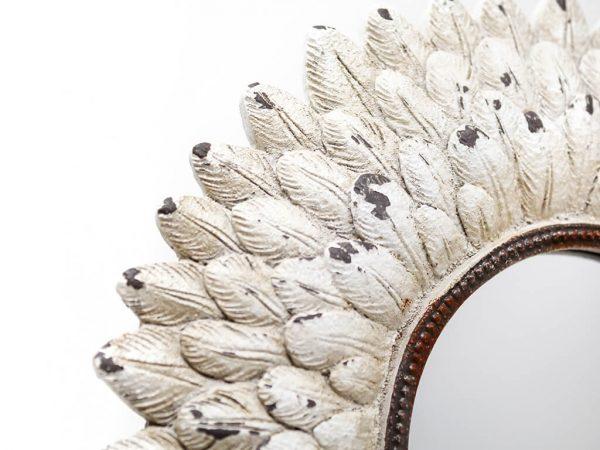 Espejo vintage deco plumas blanco detalle