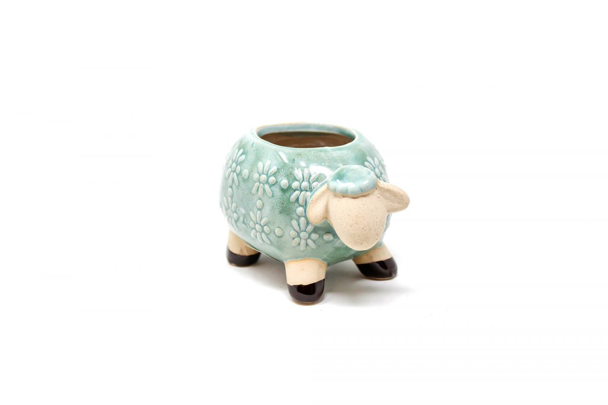 Maceta animal 115 13x8 cm oveja chica verde