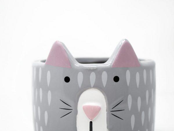 Maceta animal 14 gato gris detalle 2