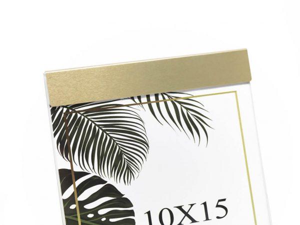 Portarretrato de aluminio 10x15 dorado detalle