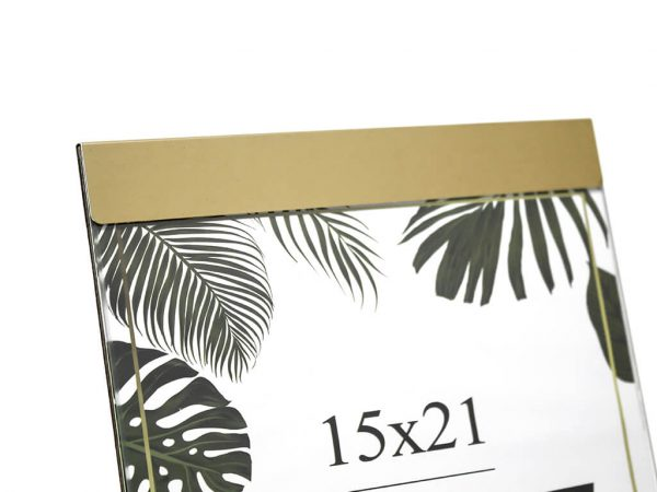 Portarretrato de aluminio 15x21 dorado detalle