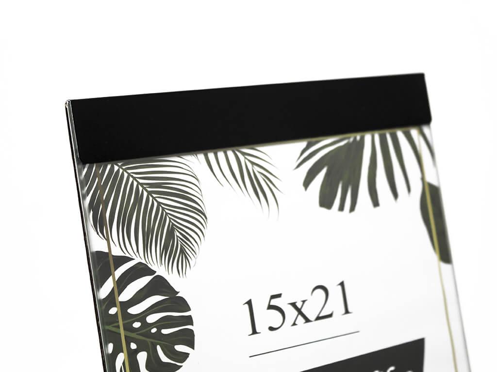 Portarretrato de aluminio 15x21 negro detalle