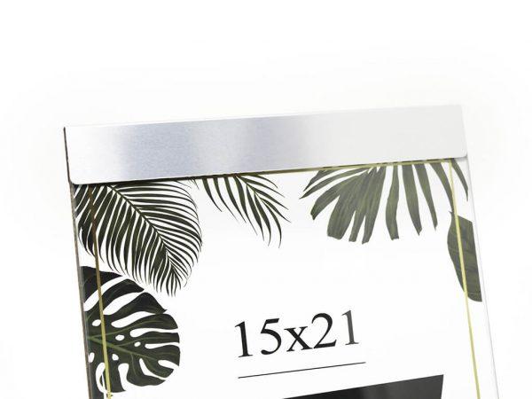 Portarretrato de aluminio 15x21 plateado detalle