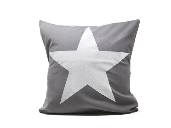 Funda 40×40 gris estrella blanca