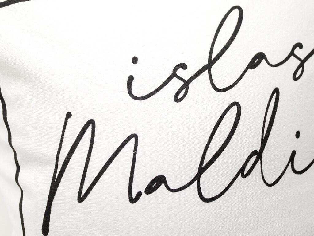 Funda 40×40 maldivas blanco y negro detalle
