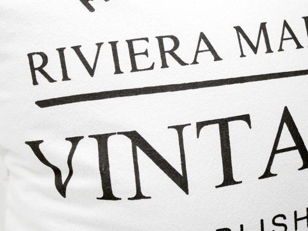 Funda 40×40 vintage 1948 blanco y negro detalle