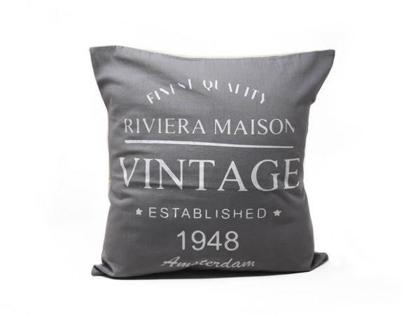 Funda 40×40 vintage 1948 gris y blanco
