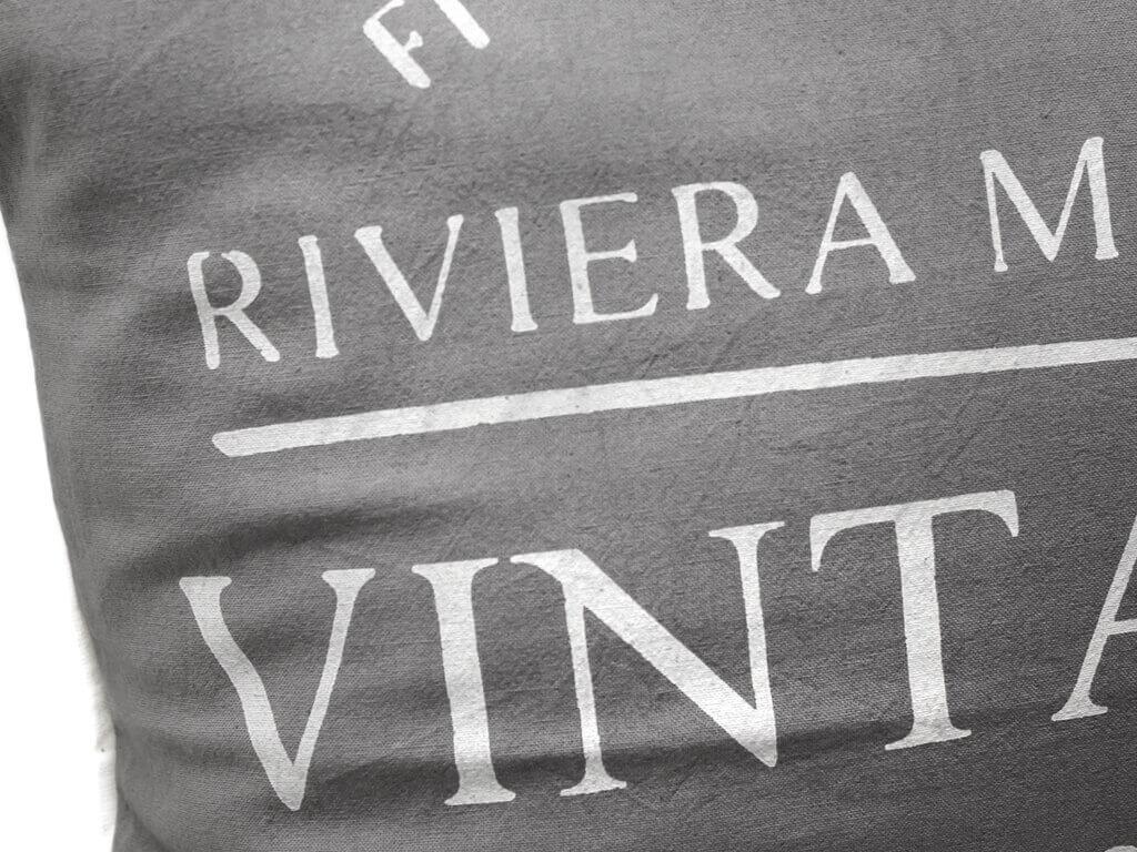 Funda 40×40 vintage 1948 gris y blanco detalle