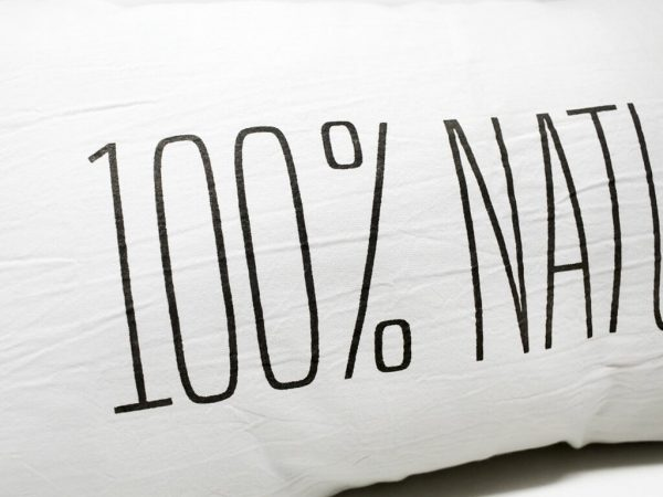 Funda 60×35 100% natural blanco y negro detalle