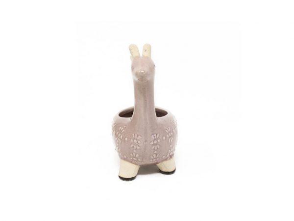 Maceta animal jirafa violeta chica detalle2