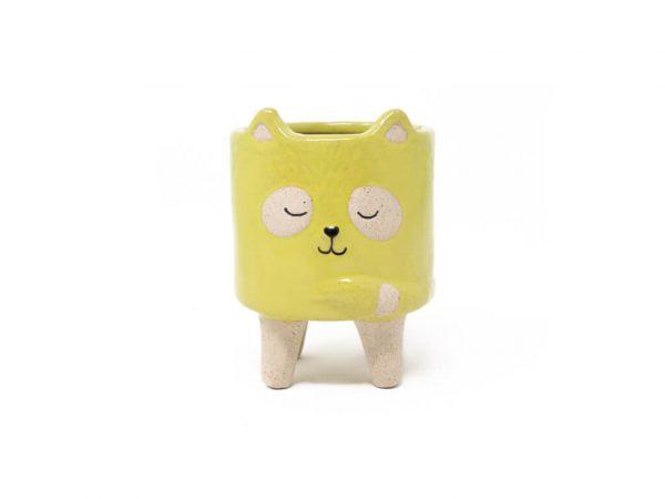 Maceta animal mapache amarillo chico