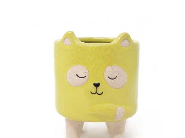 Maceta animal mapache amarillo chico detalle