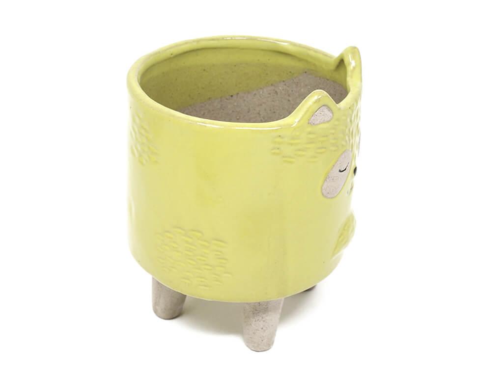Maceta animal mapache amarillo grande lateral