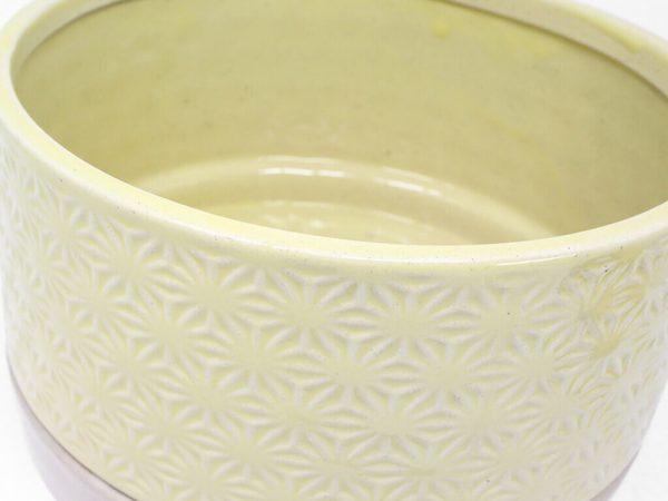 Maceta color amarilla con plato 23cm detalle