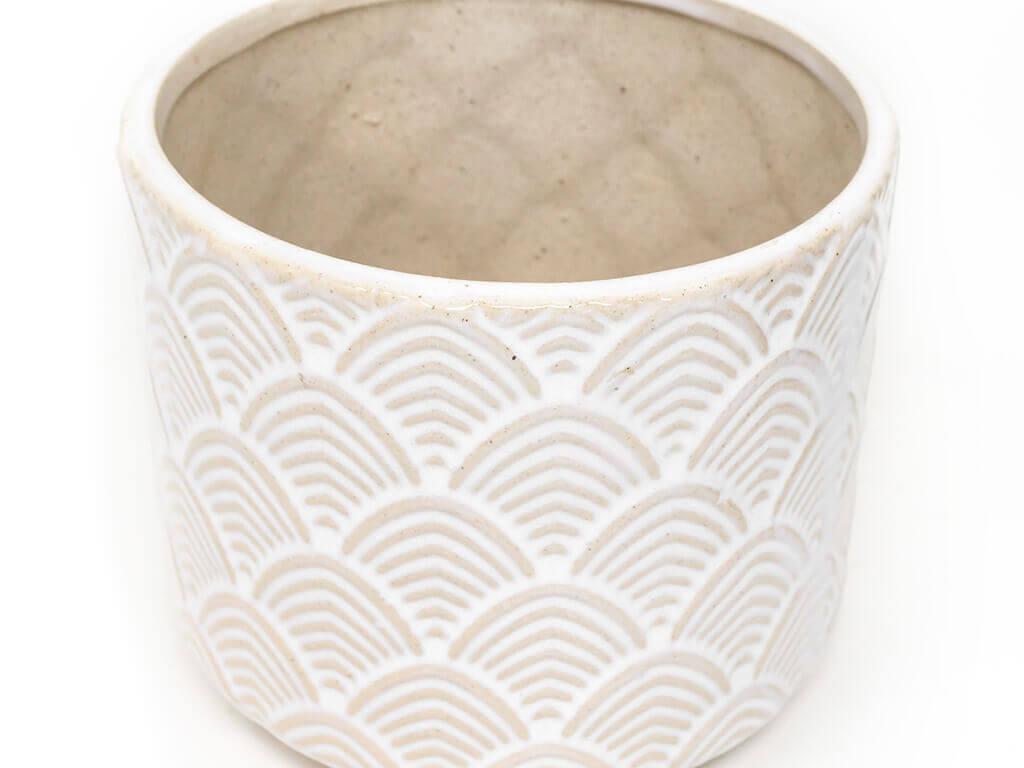 Maceta color blanca 14cm detalle