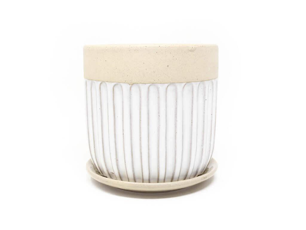 Maceta color blanca con plato 13cm
