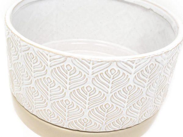 Maceta color blanca con plato 23cm detalle