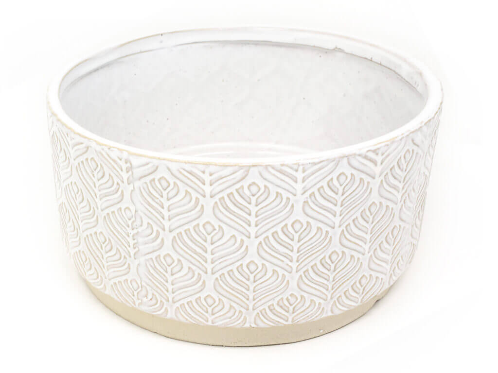 Maceta color blanca con plato 23cm detalle2