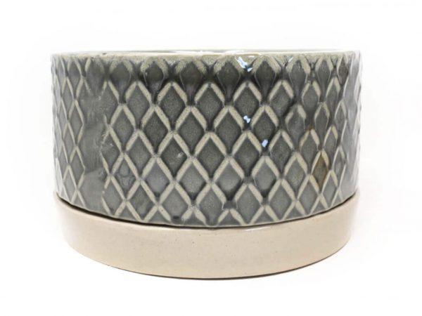 Maceta color gris con plato 23cm