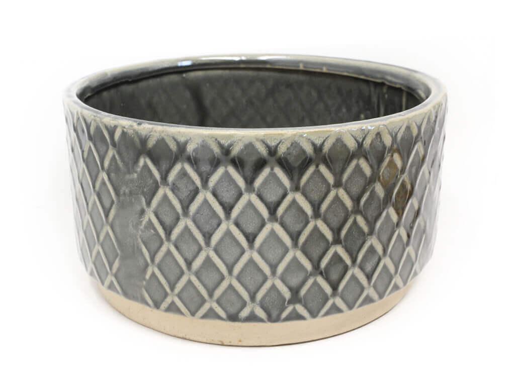 Maceta color gris con plato 23cm detalle 2