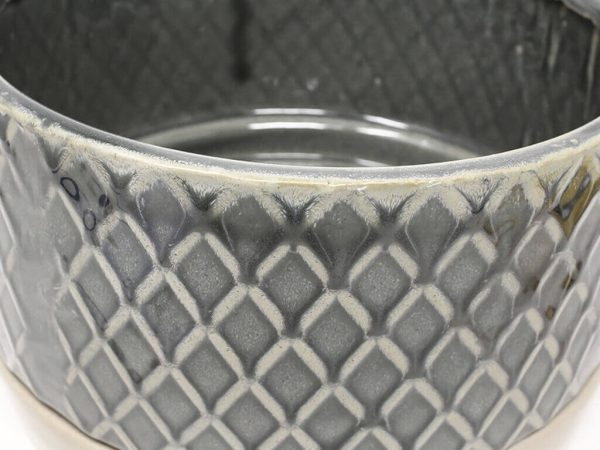 Maceta color gris con plato 23cm detalle